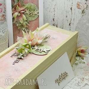komplet ślubny-kartka pudełko na wino koperta, ślub, kartka ślubna, prezent