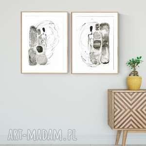 dom zestaw 2 obrazów a3 namalowanych ręcznie, minimalizm