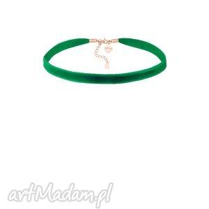 zielony aksamitny choker z regulowanym zapięciem sotho - minimalistyczny
