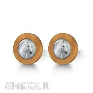 biały koń - drewniane spinki do mankietów, naturalne męskie, prezent