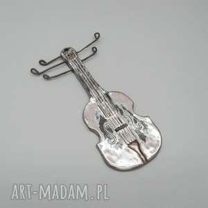 skrzypce, dekoracja, wnętrze, prezent, ceramika, metal, unikatowy