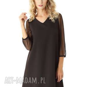 sukienki sukienka trapezowa z tiulowymi rękawami keira czarna