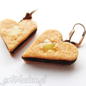 KOLCZYKI ciasteczka serca, kolczyki, ciastka, serce, galaretka, fimo