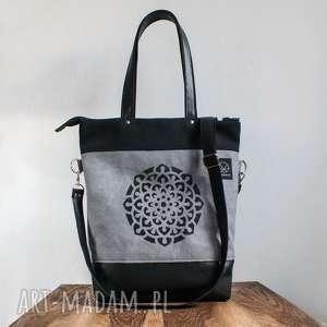Szaro czarna torba Mandala, torba-na-zamek, szaro-czarna-torba, torba-kobieca