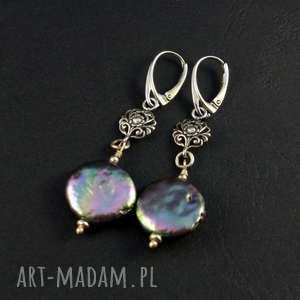 unikalny, perły i ażur, perła benzynka, nieregularna perła, srebrny srebr0