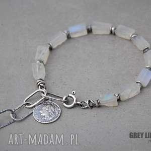 Surowy kamień księżycowy. Bransoletka, srebro, kamień, księżycowy