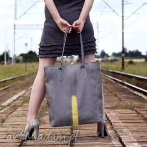 na ramię pillar - duża torba shopper szary i żółty, shopper, duża, pojemna