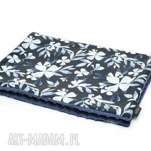 kocyk kołderka 50 x 75 cm minky bawełna blue flowers, wyprawka