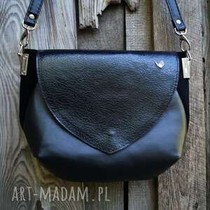 hand-made na ramię amina średniej wielkości torebka czarna skóra