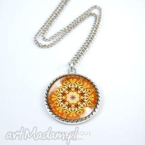 medalion, naszyjnik - bursztynowa mandala - naszyjnik, medalion, mandala, orientalny