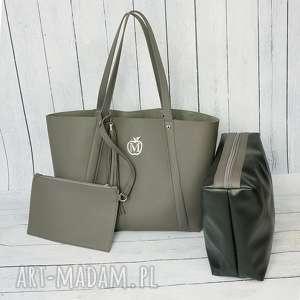 handmade torebki duża torba worek manzana xxl 3w1 szara