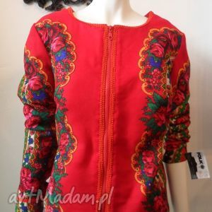 folk design kurtka letnia- czerwona - folk, design, góralska, kurtka, chusta