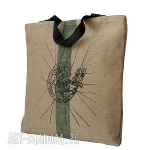 hand-made na zakupy torba lniana z rowerem