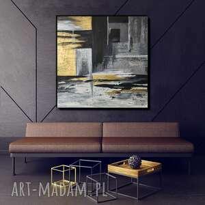 obraz ręcznie malowany - geometria 80x80 cm, ze złotym