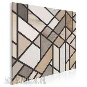 obraz na płótnie - beże brązy w kwadracie 80x80 cm 17702, trójkąty