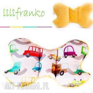 poduszka podróżna auta żółty, poduszka, podróżna, motylek, niemowlęca