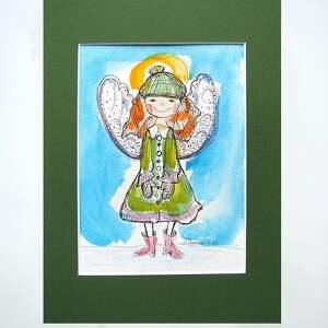 Obrazek z aniołkiem, aniołek akwarela, obrazek do pokoju dziewczynki, dla