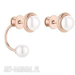 asymetryczne kolczyki z różowego złota z perłami