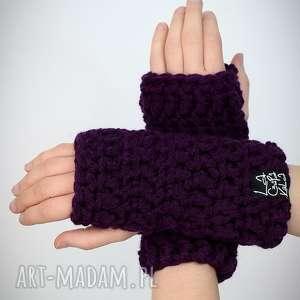 rękawiczki 23 - ciemne fioletowe, mitenki, rekawiczki, prezent, upominek, komplet