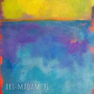 Obraz na płótnie - ABSTRAKCJA 30/24 cm, abstrakcja, żółty, obraz, akryl, niebieski