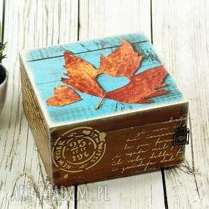Szkatułka drewniana - jesienne serce pudełka shiraja pudełko