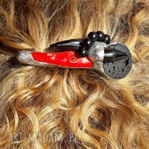 spinka do włosów koral i lawa, spinka, koral, prezent, włosy, tiffany