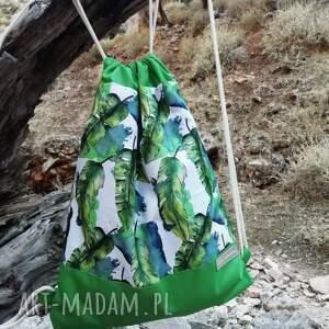 workoplecak w zielone liście, workoplecak, plecak worek, wodoodporny