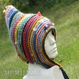 ręczne wykonanie czapki czapa etno elf 100% wełna
