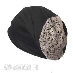 hand made czapki czapka dzianinowa damska z koronką