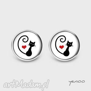 Kolczyki - kotek, serce sztyfty, grafika yenoo kolczyki, kot