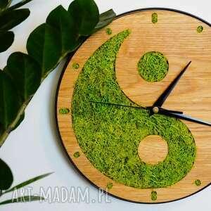 zegar z drewna dębowego mech yin yang, zegar, drewno, mech, yang, balans