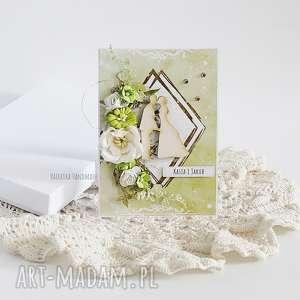 kartka ślubna w pudełku 445, młoda para, złoto wesele