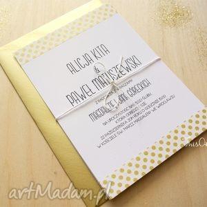 zaproszenia ślubne gold dots, złoto, kropki, wesele, zaproszenie