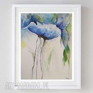 niebieski akwarela formatu 21/28 cm, niebieski, akwarela, abstrakcja, kwiaty