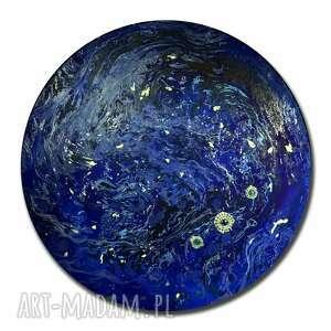 krajobraz księżycowy 120 cm, księżyc, planeta, tondo, alexandra13art