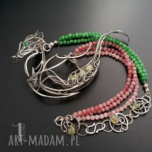 Otohime srebrny naszyjnik z jadeitami i zielonymi granatami , srebro, orientalny