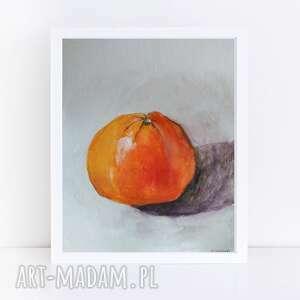 pomarańcza-akwarela formatu 18/24 cm, akwarela, pomarańcza, farby, owoce, kredki