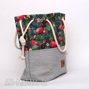 Torebka worek w kwiaty, flamingi, liście i monstery rączki ze sznurka , kolorowa
