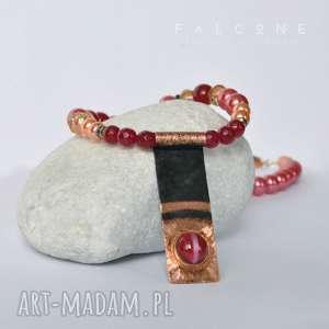 kolia wiśniowy sorbet - kolia, naszyjnik, perły, miedź, kaboszon, eleganki