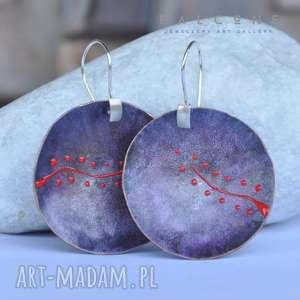 Wrzosowe z Ornamentem, kolczyki, duże, koła, misy, srebro, ornament