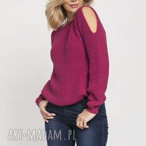 raglanowy sweter, swe176 amarant mkm, raglanowy, struktura, jesień