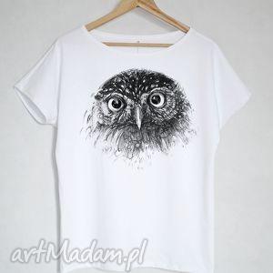 sowa koszulka bawełniana biała s/m, bluzka, koszulka, sowa, bawełna, nadruk, biała