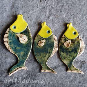 malgorzata wosik komplet rybek na scianę - żółto-zielone, ryba, ryby, ceramika