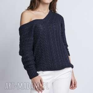 sweter z dekoltem v, swe079 granat mkm, dekolt, ażurowy, plecy, odsłonięte, wzór