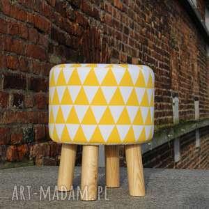 handmade pufa żółty arlekin - 36
