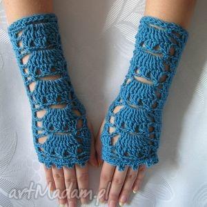 ażurowe rękawiczki - mitenki - ażurowe, jesień, prezent, ozdobne