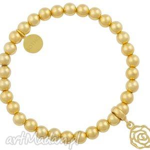 złota bransoletka złote koraliki ze złota z różą