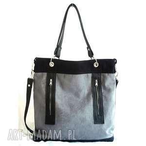 Szaro czarna z zamkami, torebka, damska, pojemna, kieszenie, alkantara, skóra