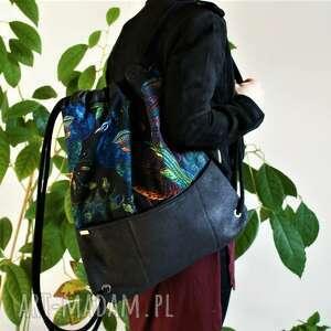 plecak czerń nubuk pawie, vegan, plecak, glamour, welur, zamsz, lato