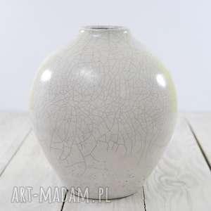 wyjątkowy prezent, wazon biały raku, ceramika handmade, artystyczna
